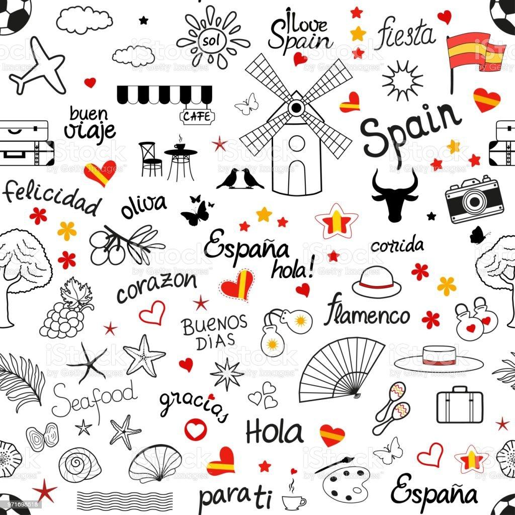Awe Inspiring Seamless Pattern With Set Of Spanish Hand Drawn Design Download Free Architecture Designs Fluibritishbridgeorg