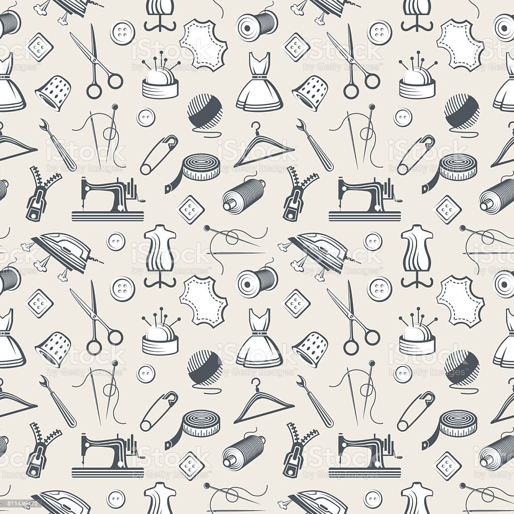 seamless pattern with sewing equipment vector art illustration