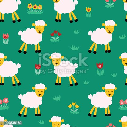 istock Seamless pattern with sheep on green background. Repeating kids vector background. Cute animal lamb illustration and flowers for fabric, textile, wrapping paper. Vector illustration. 1299838180