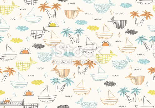 istock Seamless pattern with ships, fish, sun, clouds, sea and waves in the concept of children's drawings. Cute Marine for fabric, baby clothes, background, textile, wrapping paper and other decoration. 1266895632