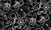 Seamless pattern with shoes, notebook, cup of coffee, camera, glasses, pen, sunscreen, tubes of paint, flowers.