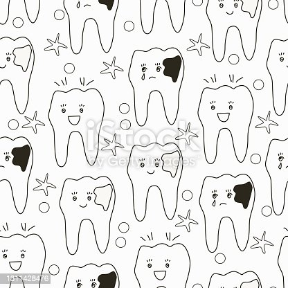 istock Seamless pattern with sick and healthy teeth 1311428476