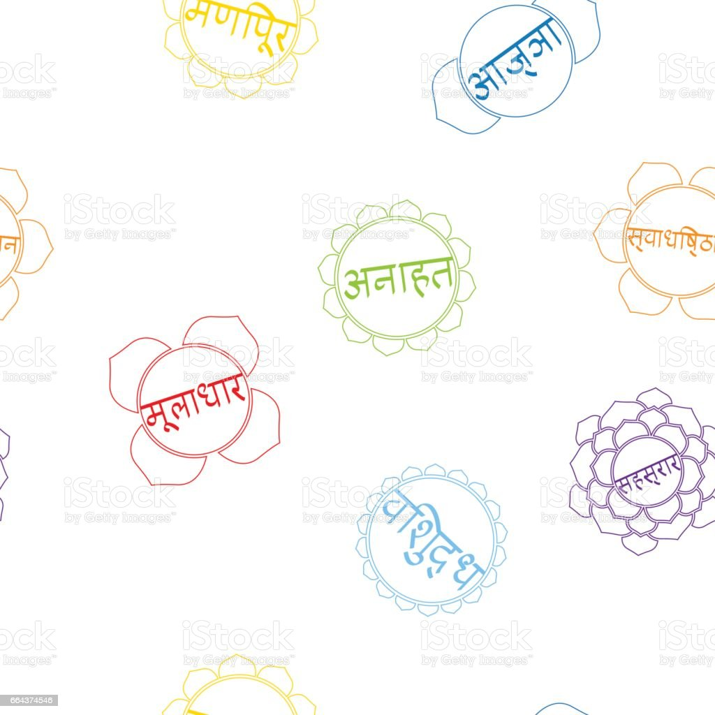 seamless pattern with signs and names of chakras in Sanskrit vector art illustration