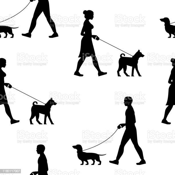 Seamless pattern with silhouette man and woman walking the dogs vector id1182717007?b=1&k=6&m=1182717007&s=612x612&h=ys3psaaefe16u cbx 20qdm9fw7ksl0h5luudlrpt34=