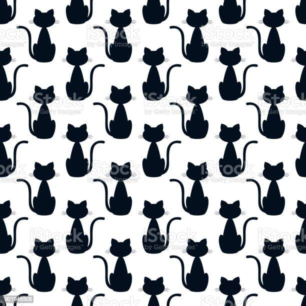 Seamless pattern with silhouette of a cat vector illustration vector id901948908?b=1&k=6&m=901948908&s=612x612&h=4h8n nvznlyygiw0ta704lfrfjiapnhsk67 bvbwitm=
