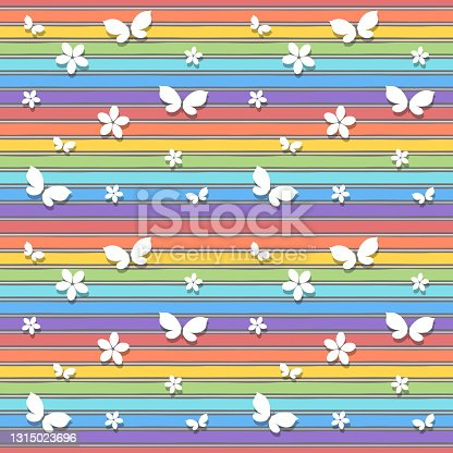 istock Seamless pattern with silhouettes of butterflies and flowers on background of rainbow colors. Vector illustration. 1315023696
