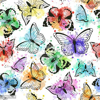 istock Seamless pattern with silhouettes of butterflies and vector imitation of watercolor spots 988373286