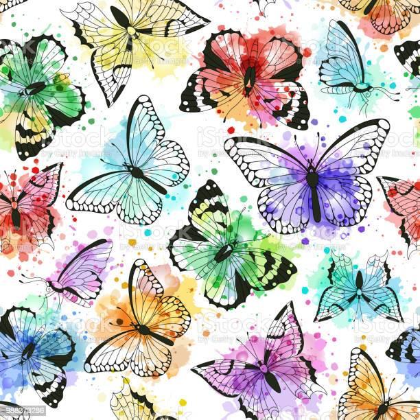 Seamless pattern with silhouettes of butterflies and vector imitation vector id988373286?b=1&k=6&m=988373286&s=612x612&h=2ak6xnoxxfxv7zv7 x8bml01vxlfeq za6rw ceskom=