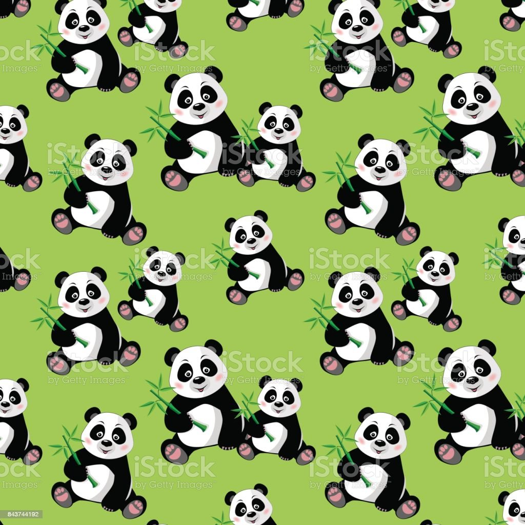 Seamless pattern with sitting cute panda and bamboo vector art illustration