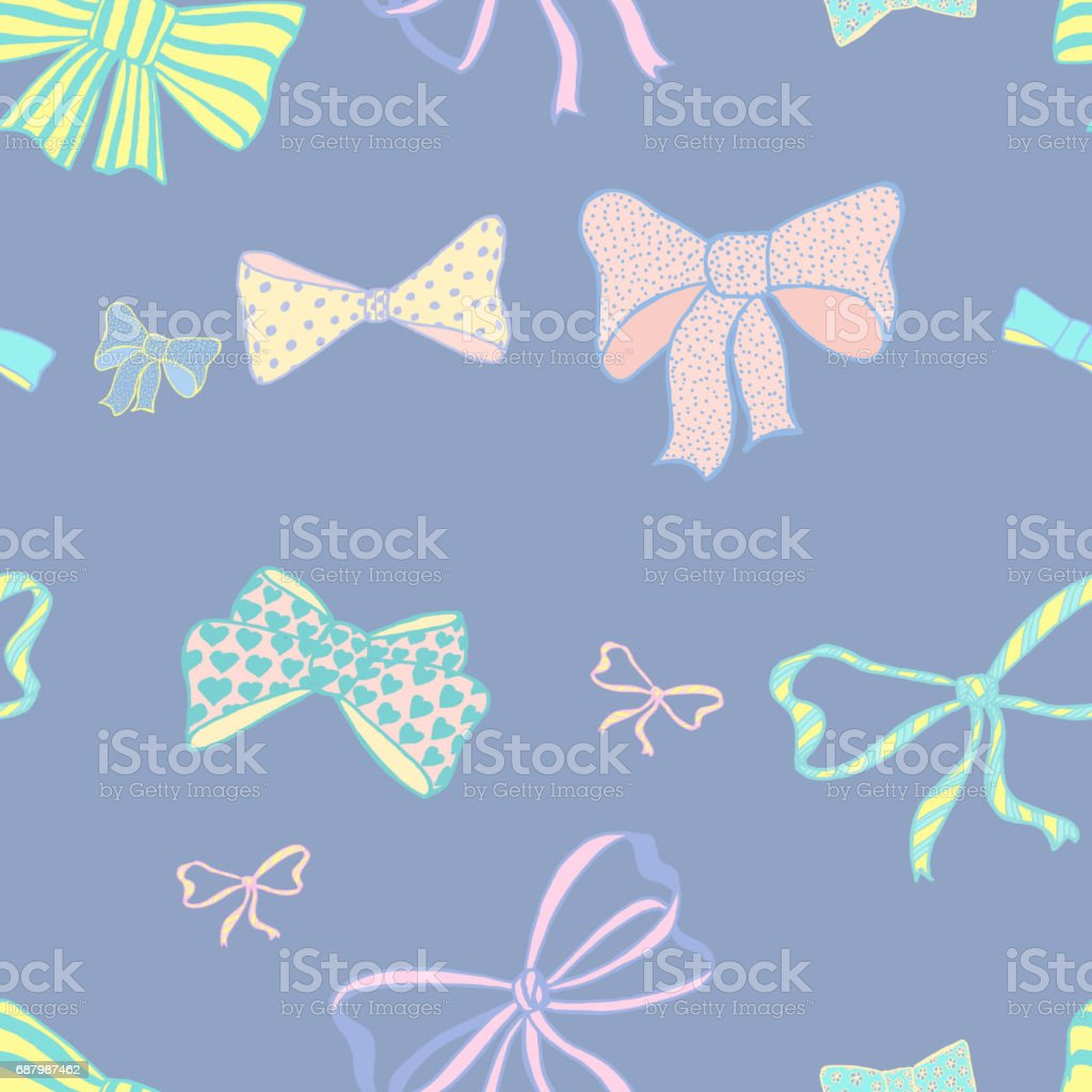 Seamless pattern with skerchy bows vector art illustration