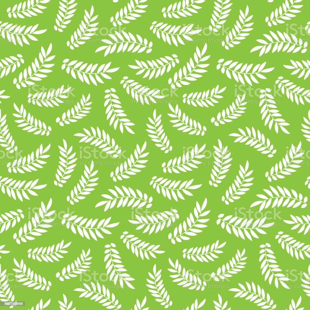 Seamless Pattern With Sketch Leaves Vector Green Nature