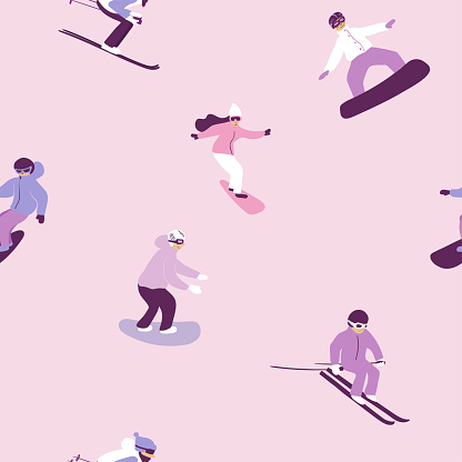 Seamless pattern with skiing and snowboarding people.