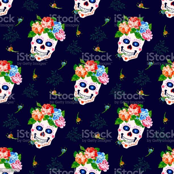 Seamless pattern with skull and rose floral skull background vector id860525680?b=1&k=6&m=860525680&s=612x612&h=f7xhti2  rshwvw5tjhyddnsfip8dtveviuq7iq moe=
