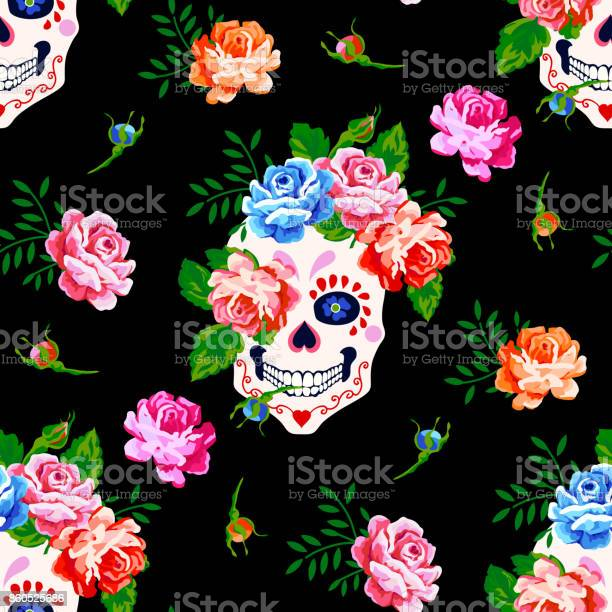 Seamless pattern with skull and rose floral skull background vector id860525686?b=1&k=6&m=860525686&s=612x612&h=njd7lz edavf3m8hbr1gejhy3up4wk7umcr3cq582hq=