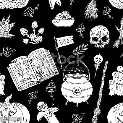 Seamless pattern with skull, witch cauldron, mushrooms, voodoo doll and magic objects on black. Mystic background for Halloween, esoteric, gothic and occult concept