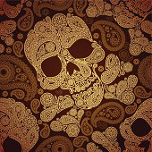 seamless pattern with skulls and paisley , eps10