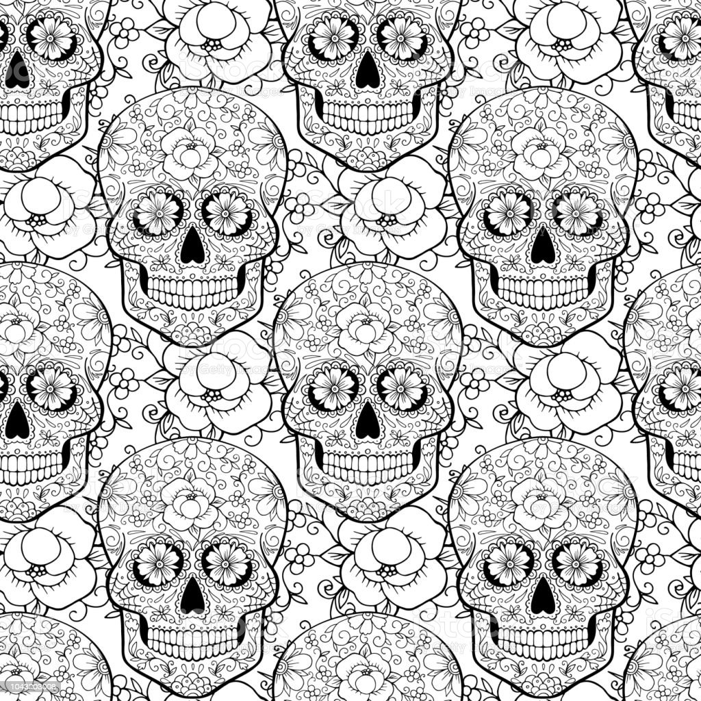 Coloriage Anti Stress Application.Seamless Pattern With Skulls Antistress Coloring Page Stock