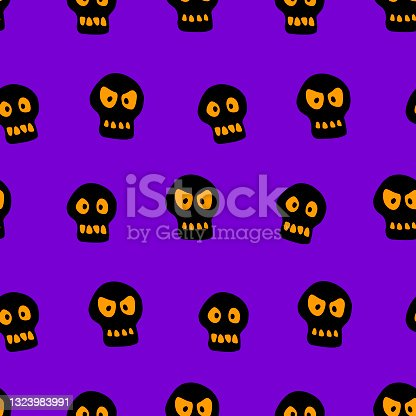istock Seamless pattern with skulls. Primitive cartoon flat style. Background and texture on theme of Halloween, danger, death, war, poison. For fabric, packaging, party, poster, banner 1323983991