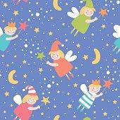 Seamless pattern with sleep fairies