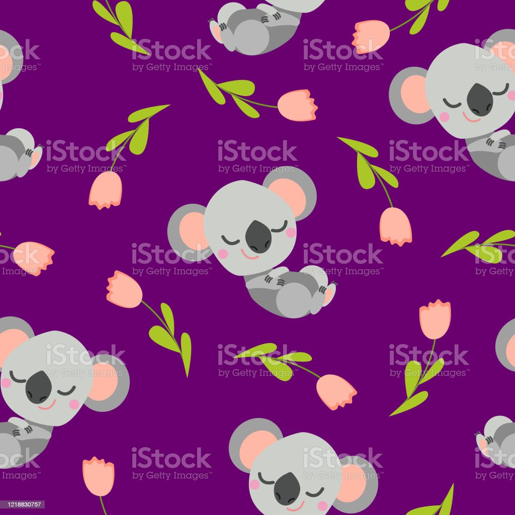 Seamless Pattern With Sleeping Koala Baby And Pink Tulips Purple Background Flat Cartoon Style Cute And Funny For Kids Postcards Textile Wallpaper And Wrapping Paper Summer And Spring Ornament Stock Illustration