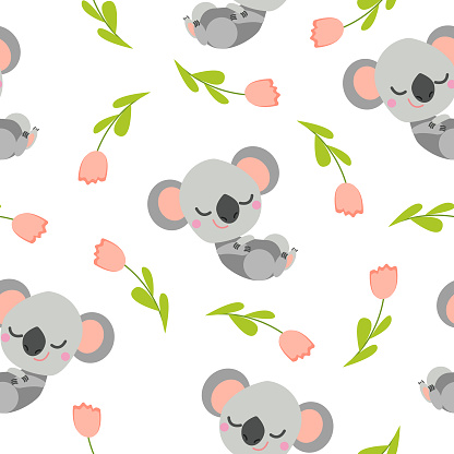 Seamless pattern with sleeping koala baby and pink tulips. White background. Flat cartoon style. Cute and funny. For kids postcards, textile, wallpaper and wrapping paper. Summer and spring ornament