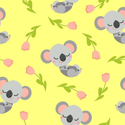 Seamless pattern with sleeping koala baby and pink tulips. Yellow background. Flat cartoon style. Cute and funny. For kids postcards, textile, wallpaper and wrapping paper. Summer and spring ornament