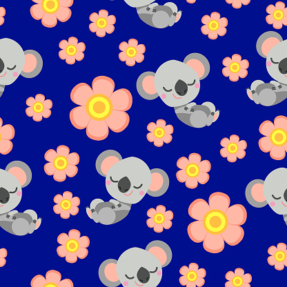 Seamless pattern with sleepy koala baby and pink flowers. Blue background. Flat cartoon style. Cute and funny. For kids postcards, textile, wallpaper and wrapping paper. Summer and spring ornament