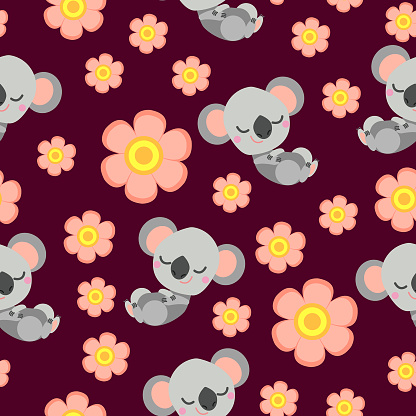 Seamless pattern with sleepy koala baby and pink flowers. Bordeaux background. Flat cartoon style. Cute and funny. For kids postcards, textile, wallpaper and wrapping paper. Summer and spring ornament
