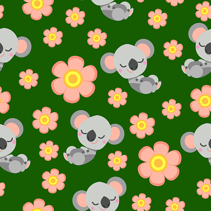 Seamless pattern with sleepy koala baby and pink flowers. Green background. Flat cartoon style. Cute and funny. For kids postcards, textile, wallpaper and wrapping paper. Summer and spring ornament