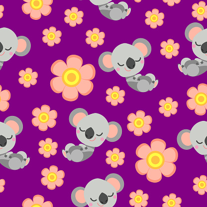 Seamless pattern with sleepy koala baby and pink flowers. Purple background. Flat cartoon style. Cute and funny. For kids postcards, textile, wallpaper and wrapping paper. Summer and spring ornament