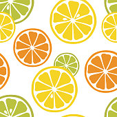 Seamless pattern with slices of lemon, orange and lime on the white background. Great for print on fabric . Vector illustration.