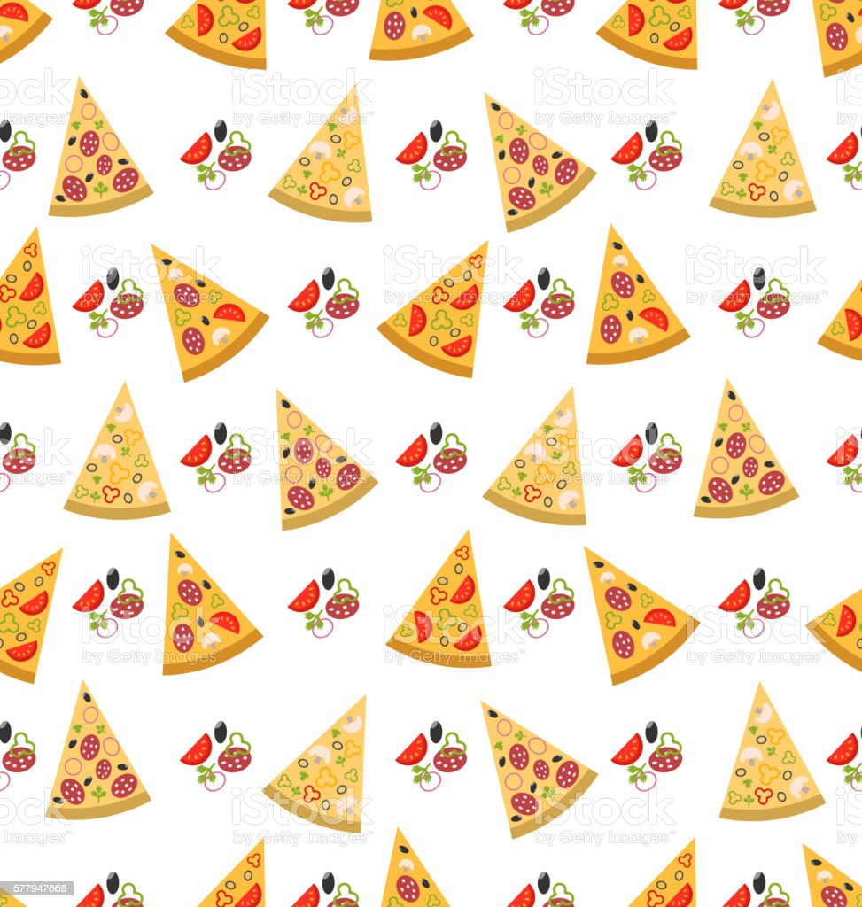 seamless pattern with slices of pizza stock illustration