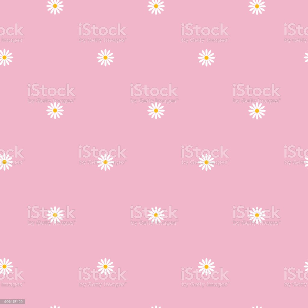 Seamless Pattern With Small Camomile Flowers On Pink Background Cute