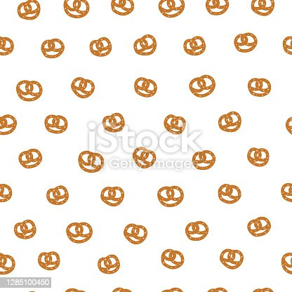 istock Seamless pattern with small pretzels. 1285100450