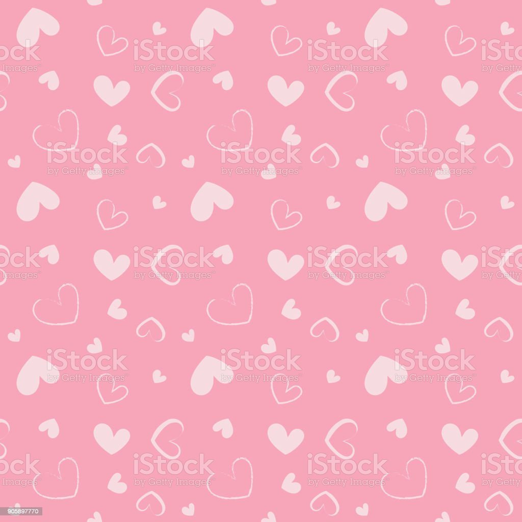 Seamless Pattern With Small White Hearts On Pink Background Colorful Festive Vector Texture Wallpaper