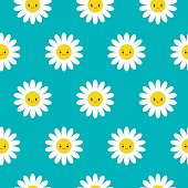 Seamless pattern with smiley daisies. Fun and cute texture with cartoon chamomile.