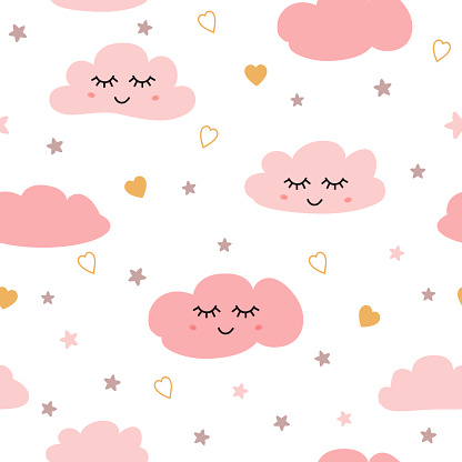 Seamless pattern with smiling sleeping clouds stars Pink baby girl pattern Vector