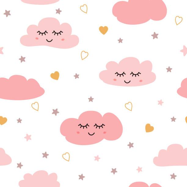 bildbanksillustrationer, clip art samt tecknat material och ikoner med sömlös mönster med leende sovande moln stjärnor rosa flicka mönster vektor - baby sleeping