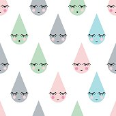 Seamless pattern with smiling sleeping drops for kids holidays. Cute baby shower vector background.