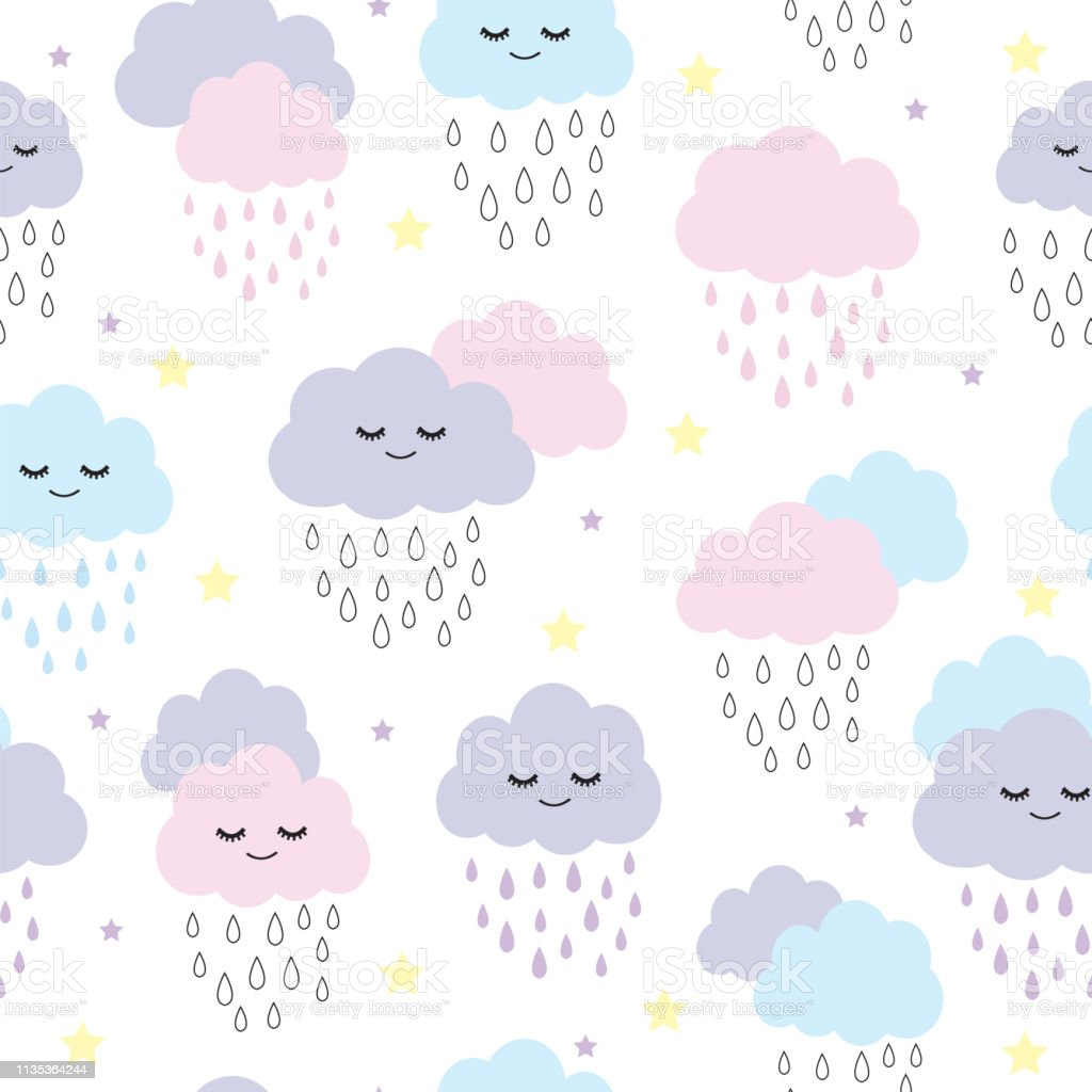 Seamless Pattern With Smiling Sleeping Raining Clouds Vector Illustration  Stock Illustration - Download Image Now