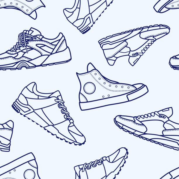 bezszwowy wzór z płaskim pociągnięciem sneaker shoe - but sportowy stock illustrations