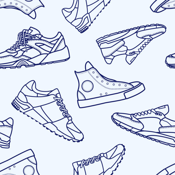 Seamless Pattern with Sneaker Shoe Flat Line Stroke Seamless Pattern with Sneaker Shoe Flat Line Stroke Icon Pictogram Symbol Illustration isolated on white background. Backdrop with stylish sneakers or modern sports footwear for running and workout. running shoes stock illustrations