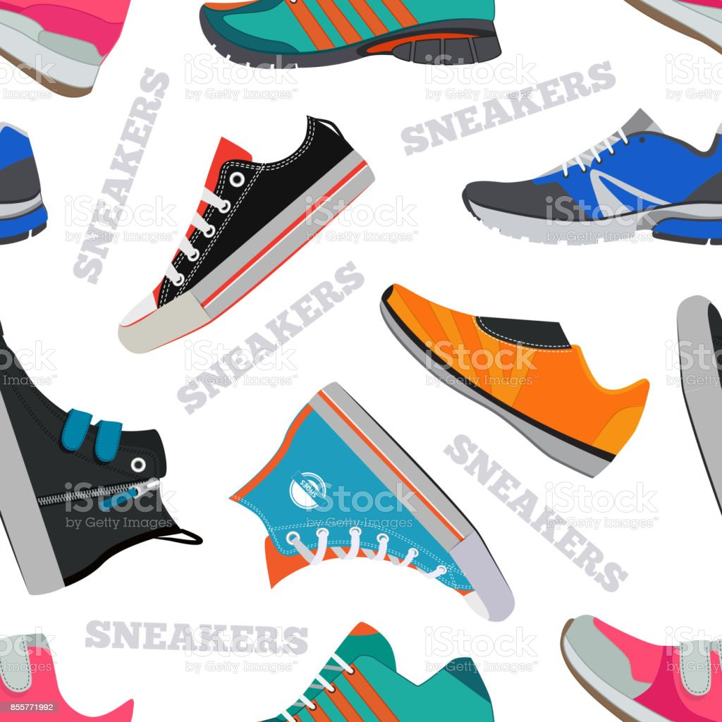 nahtlose muster mit sneakers und schuhe vektor bilder im flachen stil lizenzfreies nahtlose muster - Schnursenkel Binden Muster