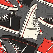 Seamless pattern with sneakers Vector background