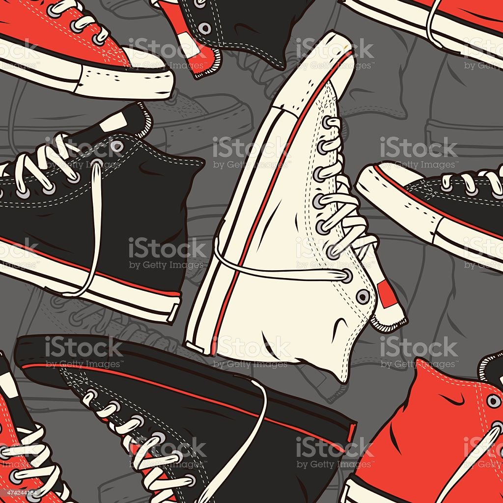 Seamless pattern with sneakers Vector background vector art illustration