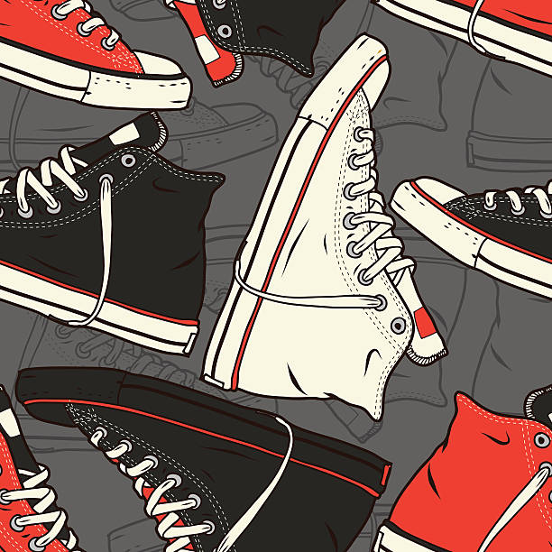 seamless pattern with sneakers vector background - preppy fashion stock illustrations, clip art, cartoons, & icons