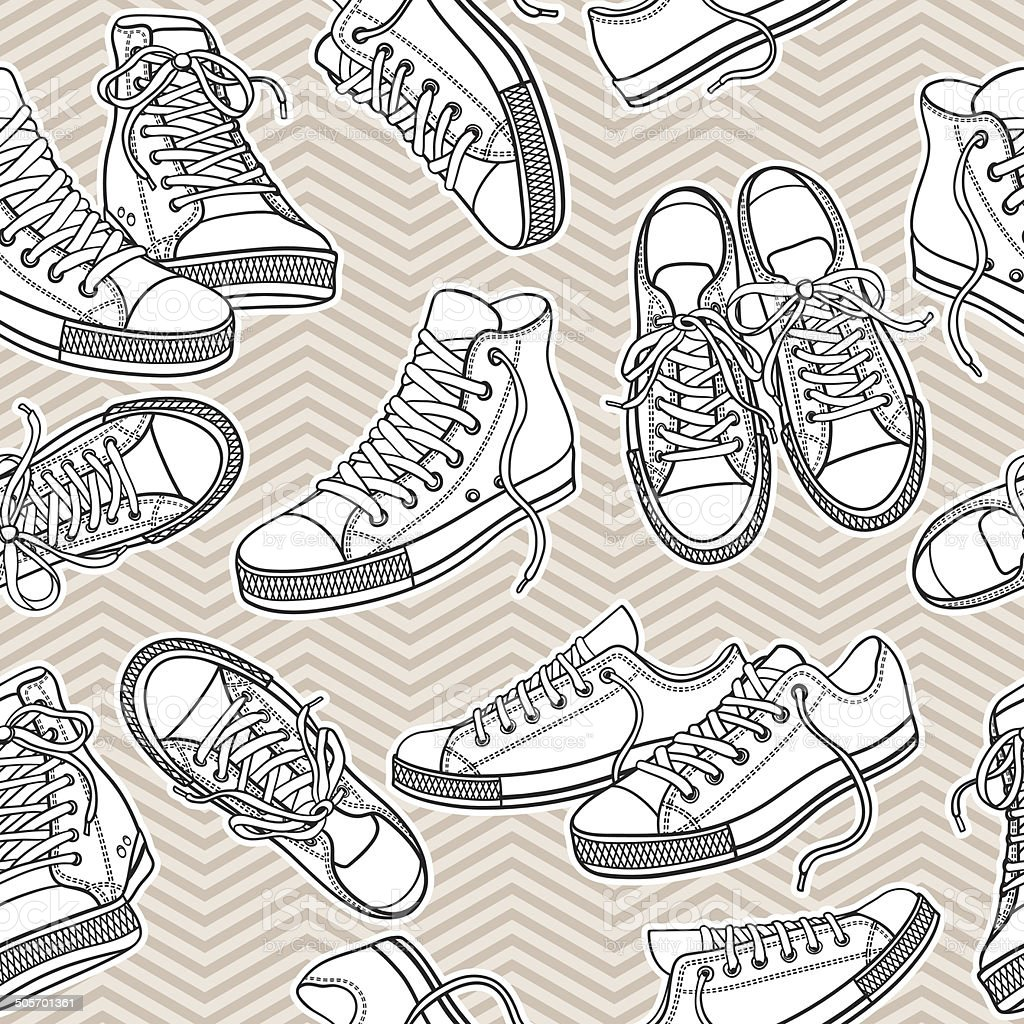 Ilustración de Patrón Sin Costuras Con Zapatillas y más banco de ...