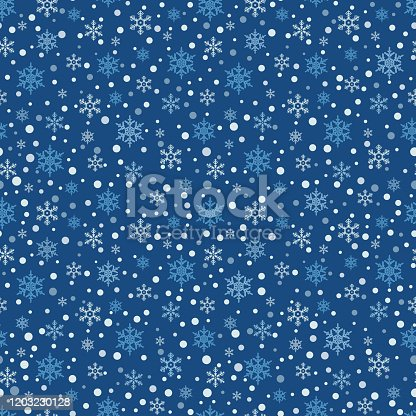 istock Seamless pattern with snowflake. Winter season background with snowfall. Christmas and New Year holiday print 1203230128