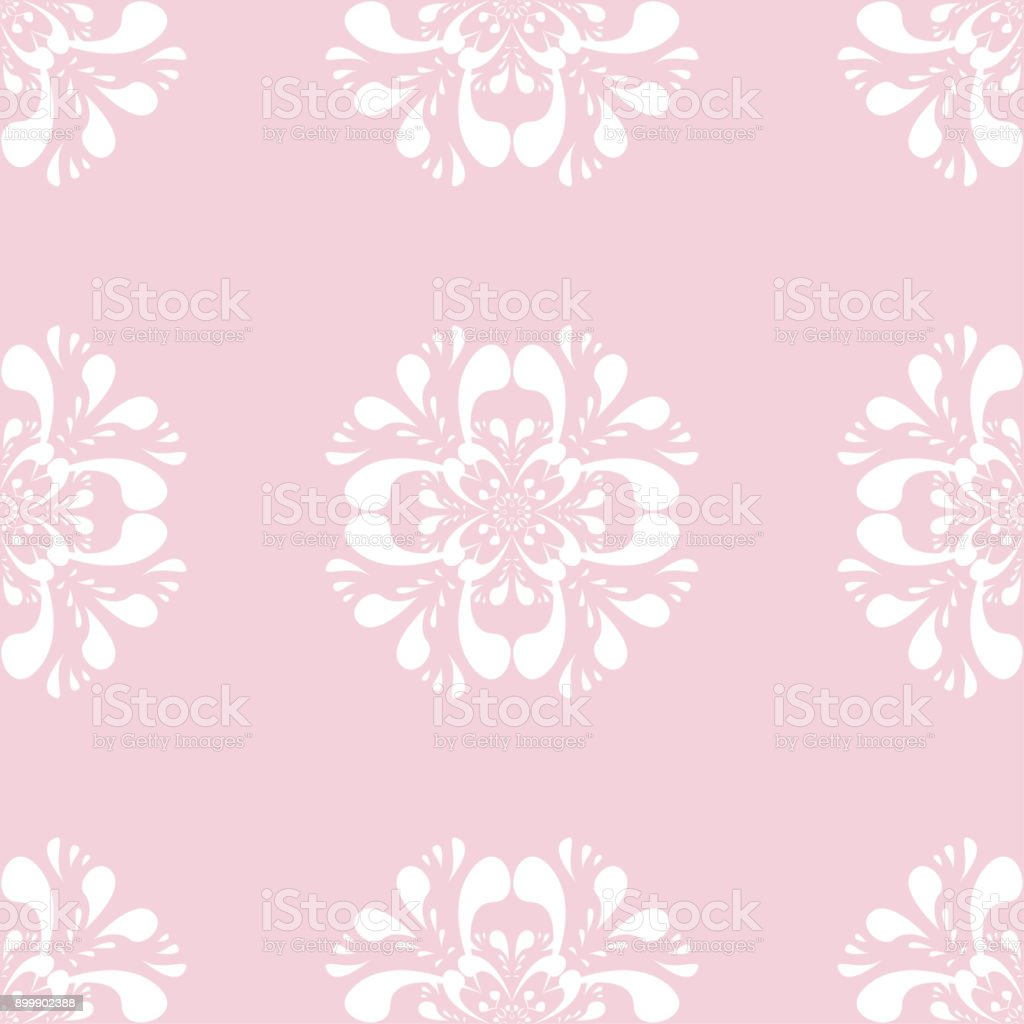Seamless Pattern With Soft Pink Floral Ornaments Stock