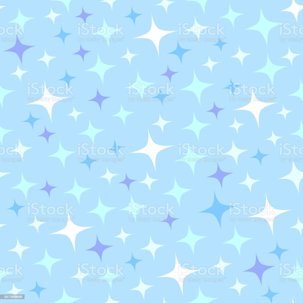 Seamless pattern with sparkles on blue background. vector art illustration